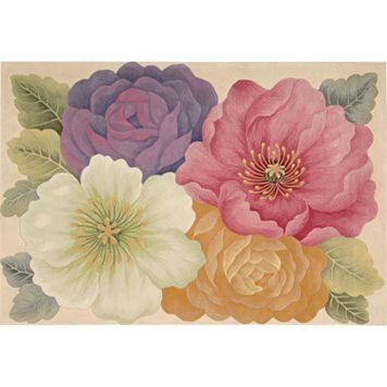 Nourison Tropics Floral Pastel Wool Rug