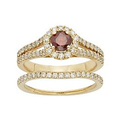 IGL Certified Red & White Diamond Halo Engagement Ring Set in 14k Gold (1 Carat T.W.)