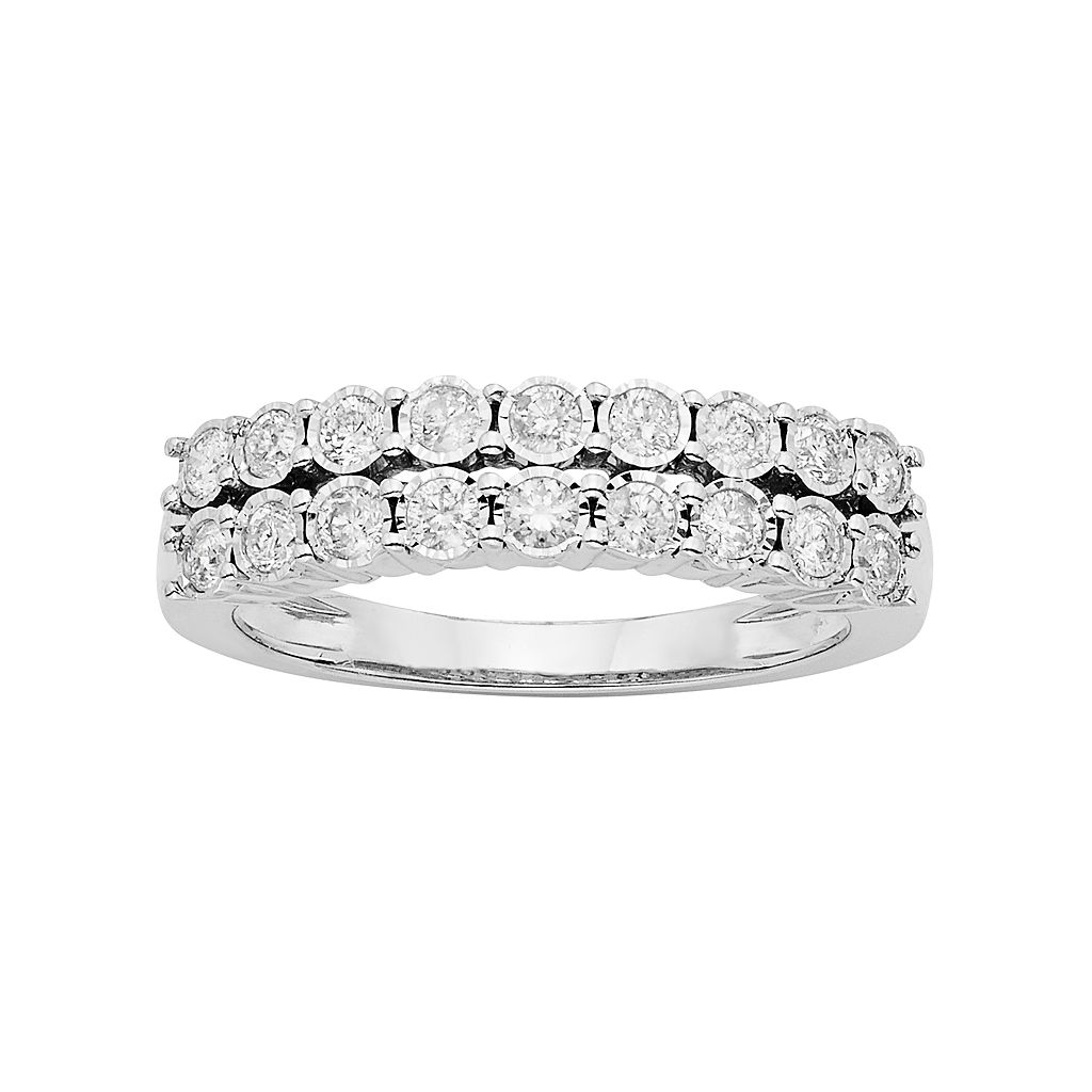 1/2 Carat T.W. Diamond Sterling Silver Double Row Anniversary Ring