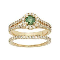 IGL Certified Green & White Diamond Halo Engagement Ring Set in 14k Gold (1 Carat T.W.)