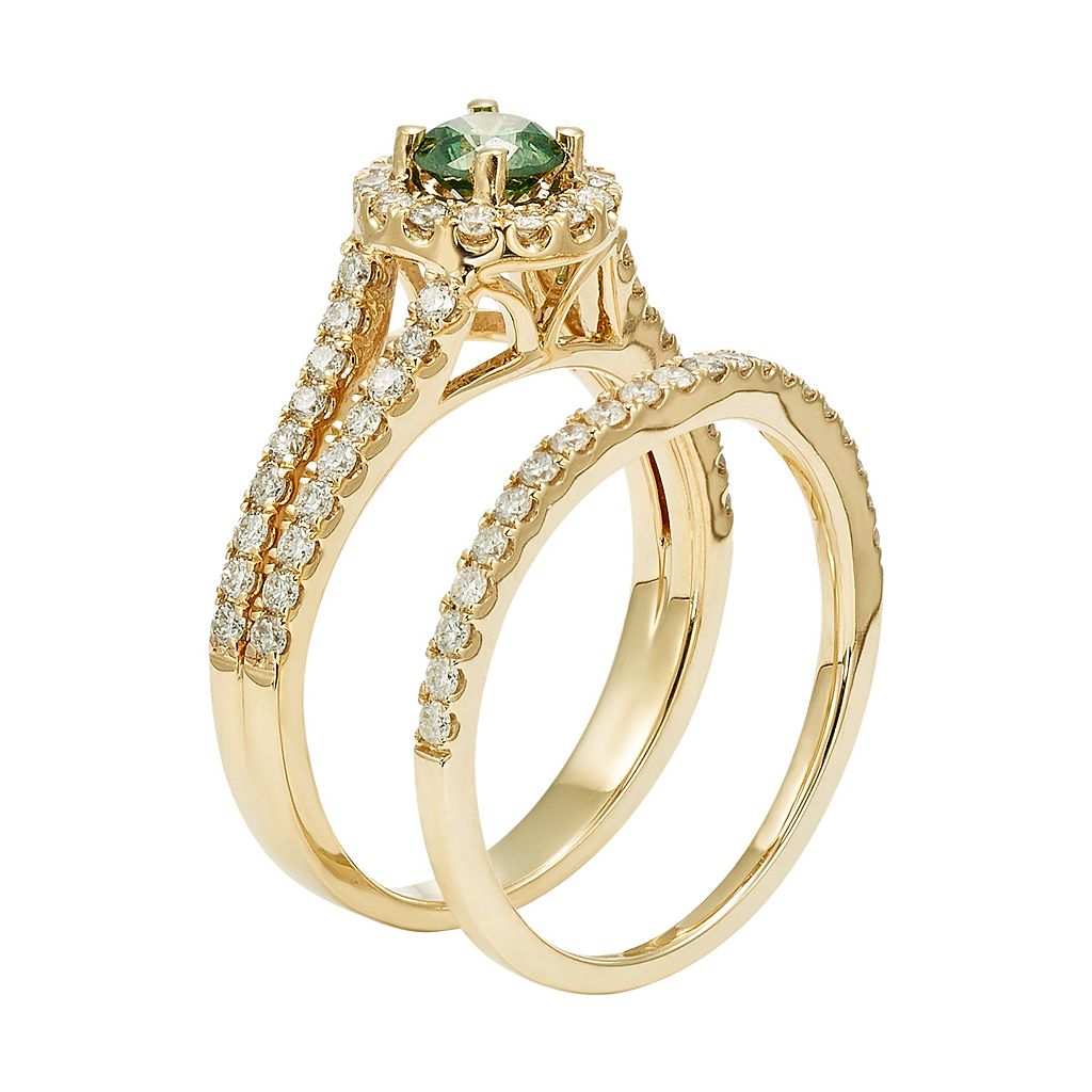 IGL Certified Green & White Diamond Halo Engagement Ring Set in 14k Gold (1 Carat T.W.)