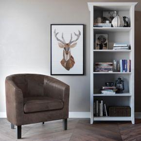 Simpli Home Austin Faux-Leather Tub Arm Chair