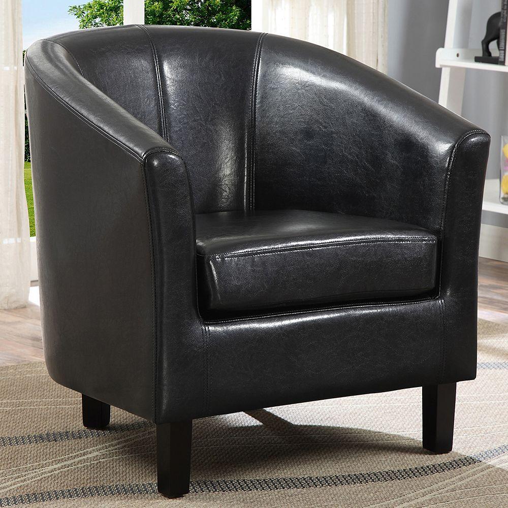 Simpli Home Austin Transitional Barrel Arm Chair