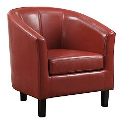Simpli Home Austin Faux-Leather Tub Arm Chair