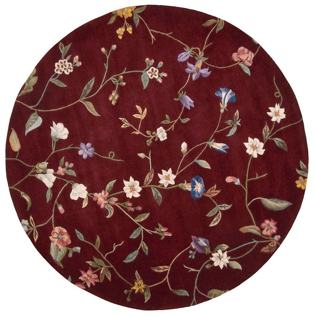 Nourison Julian Floral Ruby Red Wool Rug