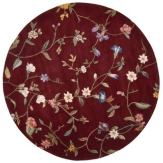 Nourison Julian Floral Ruby Red Wool Rug