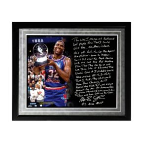 """Steiner Sports Los Angeles Lakers Magic Johnson First Game Back Facsimile 16"""" x 20"""" Framed Metallic Story Photo"""