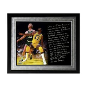 "Steiner Sports Los Angeles Lakers Magic Johnson My Friend Larry Bird Facsimile 16"" x 20"" Framed Metallic Story Photo"