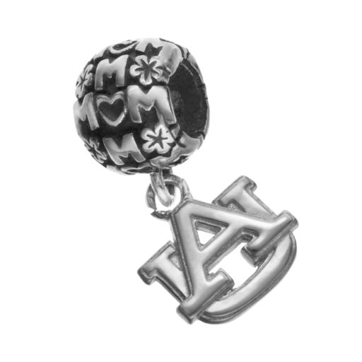 """Dayna U Sterling Silver Auburn Tigers Team Logo """"Mom"""" Charm"""