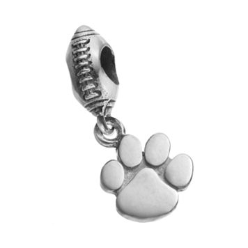 Dayna U Sterling Silver Clemson Tigers Team Logo Football Charm