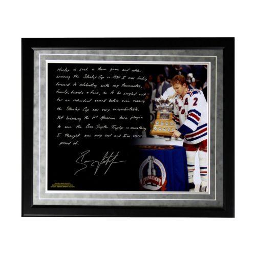 Steiner Sports New York Rangers Brian Leetch 1st American Conn Smythe Winner Facsimile 16″ x 20″ Framed Metallic Story Photo