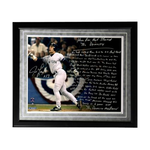Steiner Sports New York Yankees Jim Leyritz Dynasty Home Run Facsimile 16″ x 20″ Framed Metallic Story Photo