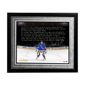 "Steiner Sports New York Rangers Henrik Lundqvist Playing in the Garden Facsimile 16"" x 20"" Framed Metallic Story Photo"