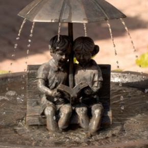 Smart Solar Children Reading Umbrella Fountain