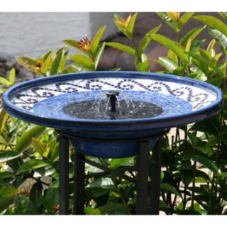 Smart Solar Mosaic Tile Birdbath Fountain