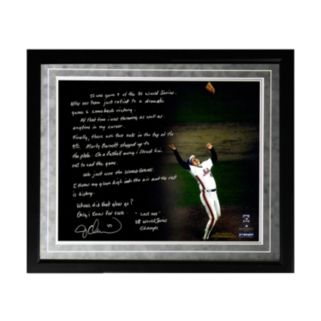 """Steiner Sports New York Mets Jesse Orosco 1986 World Series Last Out Facsimile 16"""" x 20"""" Framed Metallic Story Photo"""