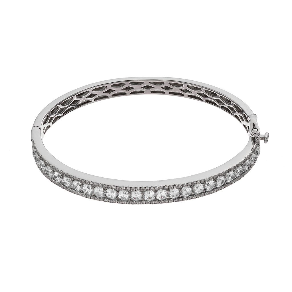 Emotions Sterling Silver Hinged Bangle Bracelet - Made with Swarovski Cubic Zirconia