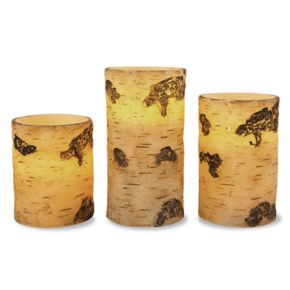 Faux Birch Flameless Candle 3-piece Set