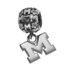 "Dayna U Sterling Silver Michigan Wolverines Team Logo ""Mom"" Charm"