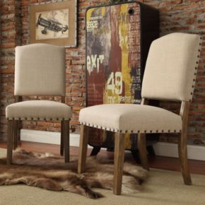HomeVance Acadian 2-piece Nailhead Side Chair Set