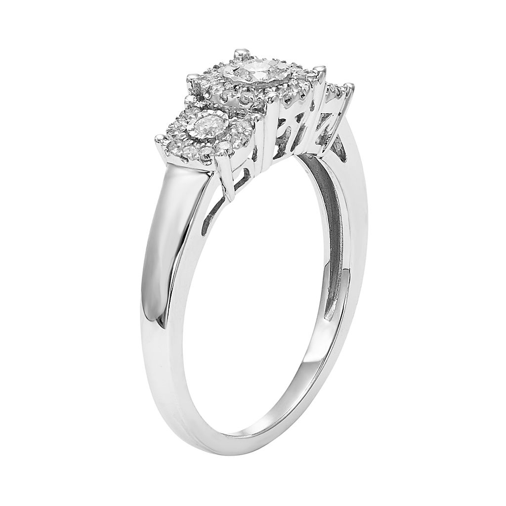 1/4 Carat T.W. Diamond Sterling Silver 3-Stone Ring