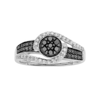 1/2 Carat T.W. Black & White Diamond 10k White Gold Swirl Ring