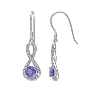 Tanzanite & 1/10 Carat T.W. Diamond Sterling Silver Infinity Drop Earrings