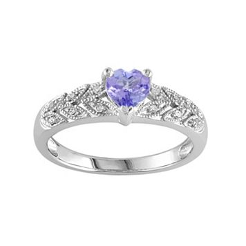 Tanzanite & Diamond Accent Sterling Silver Heart Ring