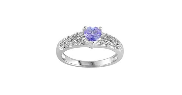 Diamond Rings For Sale Kohls: Tanzanite & Diamond Accent Sterling Silver Heart Ring