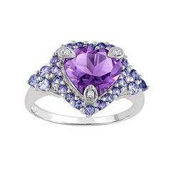 Amethyst, Tanzanite & Diamond Accent Sterling Silver Heart Ring by