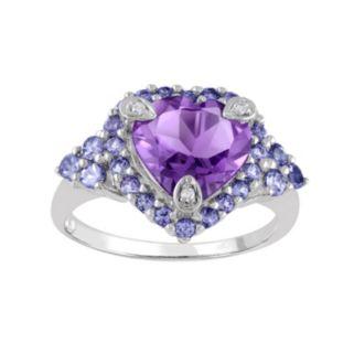 Amethyst, Tanzanite & Diamond Accent Sterling Silver Heart Ring