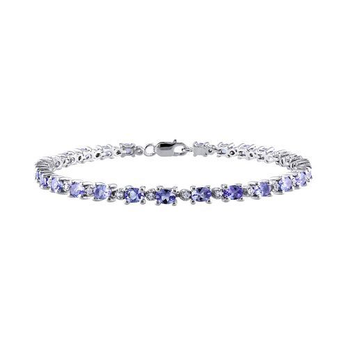 Tanzanite & White Topaz Sterling Silver Bracelet
