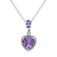 Stella Grace Amethyst, Tanzanite & Diamond Accent Sterling Silver Heart Pendant Necklace