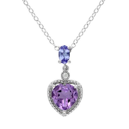 Stella Grace Amethyst, Tanzanite & Diamond Accent Sterling Silver Heart Pendant Necklace