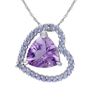 Amethyst, Tanzanite & Diamond Accent Sterling Silver Heart Pendant Necklace