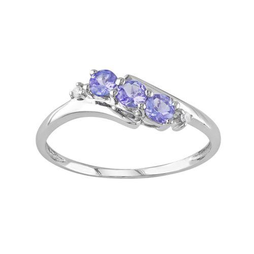 Tanzanite & Diamond Accent 10k White Gold 3-Stone Bypass Ring