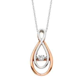 Dancing Love 1/8 Carat T.W. Diamond 10k White & Rose Gold Infinity Pendant Necklace