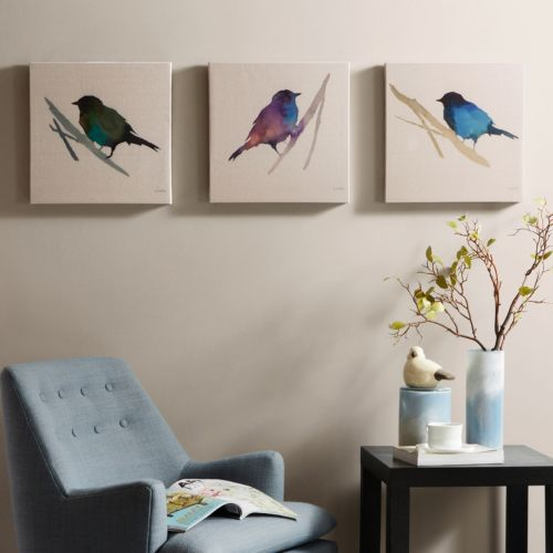 Madison Park 3-piece ''Branch & Flight'' Canvas Wall Art Set