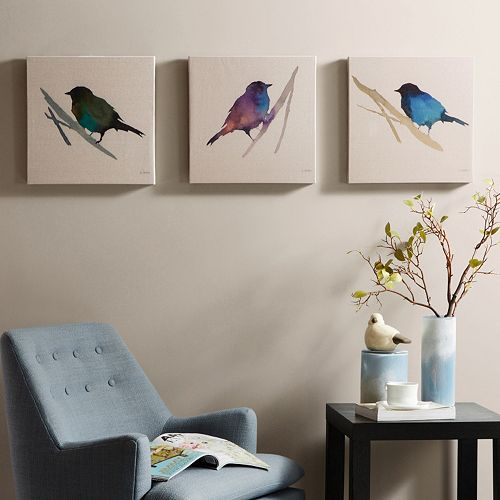 Madison Park 3-piece ''Branch & Flight'' Canvas Wall Art Set