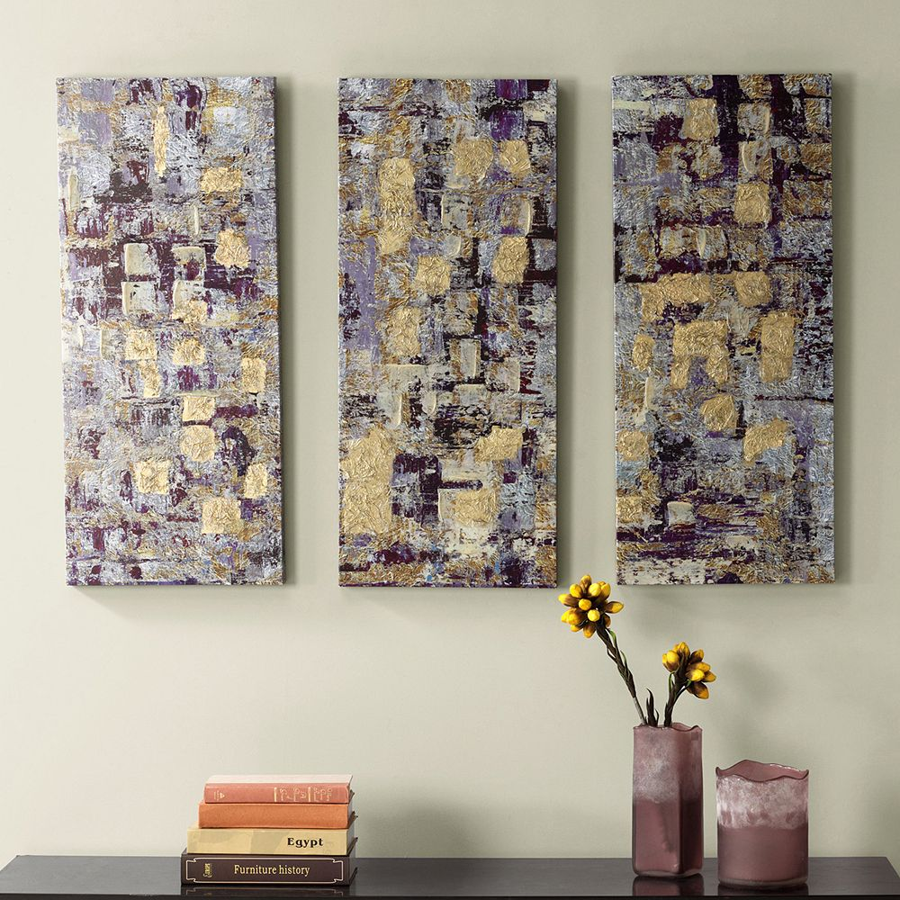 Madison Park 3-piece ''Glided Violet'' Canvas Wall Art Set