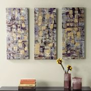 Madison Park 3 pc ''Glided Violet'' Canvas Wall Art Set