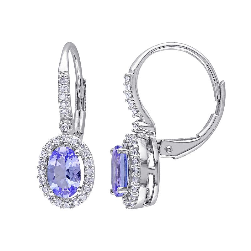 Tanzanite Drop Earrings White Gold White Gold Oval Halo Drop