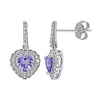 Tanzanite & 1/4 Carat T.W. Diamond 10k White Gold Heart Drop Earrings