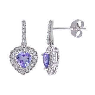 Tanzanite & 1/4 Carat T.W. Diamond 10k White Gold Heart Drop Earrings