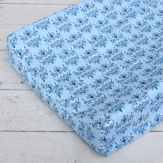 Caden Lane Blue Damask Changing Pad Cover