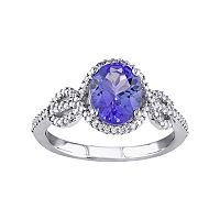 Tanzanite & 1/4 Carat T.W. Diamond 10k White Gold Oval Infinity Ring