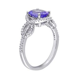 Tanzanite & 1/4 Carat T.W. Diamond 10k White Gold Oval Infinity Ring