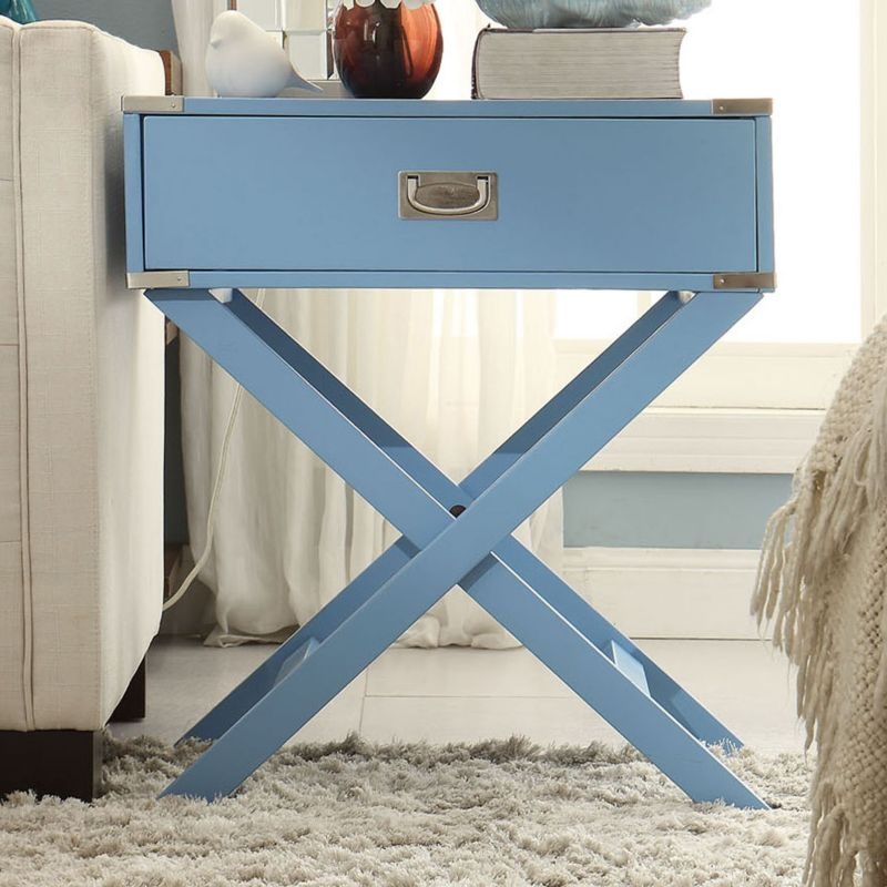 HomeVance Morgan Campaign End Table, Blue