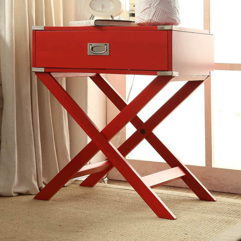 HomeVance Morgan Campaign End Table, Red