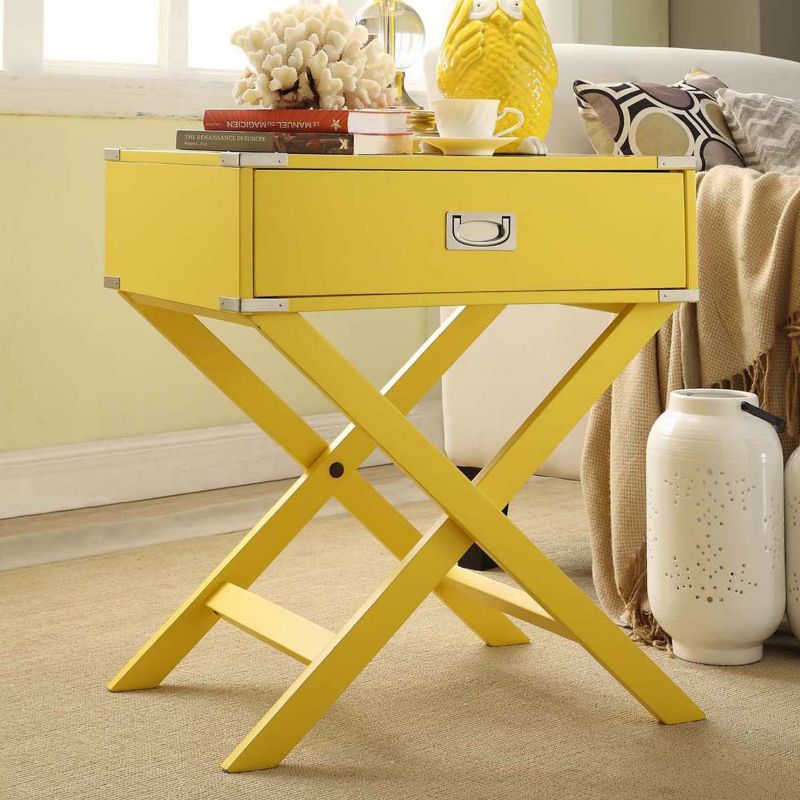 HomeVance Morgan Campaign End Table, Yellow